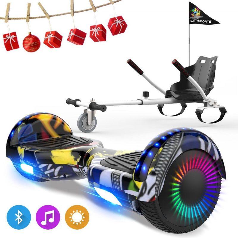 Evercross 6.5 inch Hoverboard met Flits Wielen, Elektrische Zelfbalancerende Scooter + TAOTAO moederbord,Bluetooth Speaker,LED verlichting - Hiphop + Hoverkart Wit