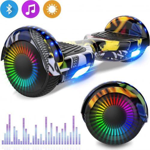 Evercross 6.5 inch Hoverboard met Flits Wielen, Elektrische Zelfbalancerende Scooter + TAOTAO moederbord,Bluetooth Speaker,LED verlichting - Hiphop