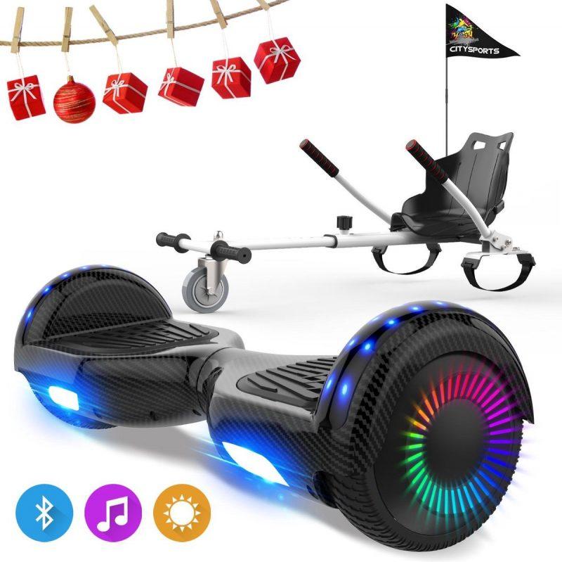 Evercross 6.5 inch Hoverboard met Flits Wielen, Elektrische Zelfbalancerende Scooter + TAOTAO moederbord,Bluetooth Speaker,LED verlichting - Koolzwart + Hoverkart Wit