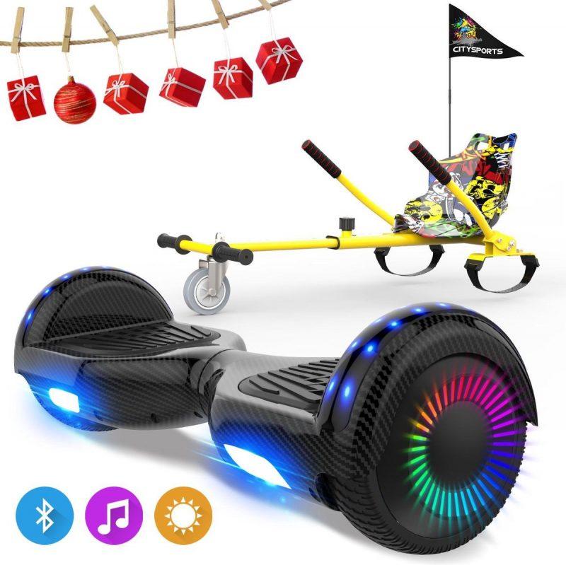 Evercross 6.5 inch Hoverboard met Flits Wielen, Elektrische Zelfbalancerende Scooter + TAOTAO moederbord,Bluetooth Speaker,LED verlichting - Koolzwart + Hoverkart Hiphop