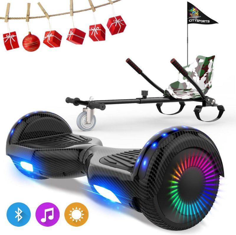 Evercross 6.5 inch Hoverboard met Flits Wielen, Elektrische Zelfbalancerende Scooter + TAOTAO moederbord,Bluetooth Speaker,LED verlichting - Koolzwart + Hoverkart Camouflage