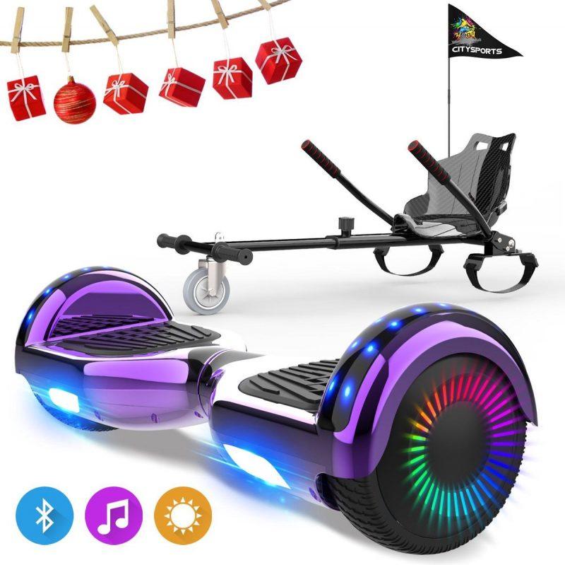 Evercross 6.5 inch Hoverboard met Flits Wielen, Elektrische Zelfbalancerende Scooter + TAOTAO moederbord,Bluetooth Speaker,LED verlichting - Paars Chroom + Hoverkart Koolzwart