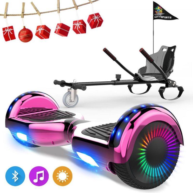 Evercross 6.5 inch Hoverboard met Flits Wielen, Elektrische Zelfbalancerende Scooter + TAOTAO moederbord,Bluetooth Speaker,LED verlichting - Roze Chroom + Hoverkart Koolzwart