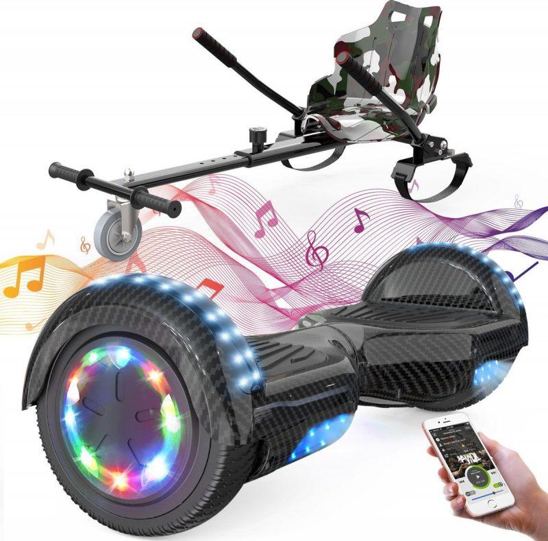 Evercross 6.5 inch Hoverboard met Flits Wielen + TAOTAO moederbord, Elektrische Zelfbalancerende Scooter,Bluetooth Speaker,LED verlichting - Koolzwart + Hoverkart Camouflage