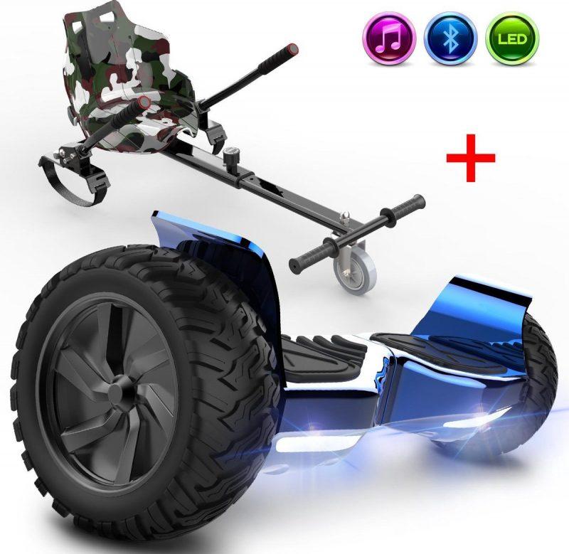 Evercross Challenger Hoverboard 8.5 Inch | 700W | Bluetooth Speaker | Blauw Chroom + Hoverkart Camouflage