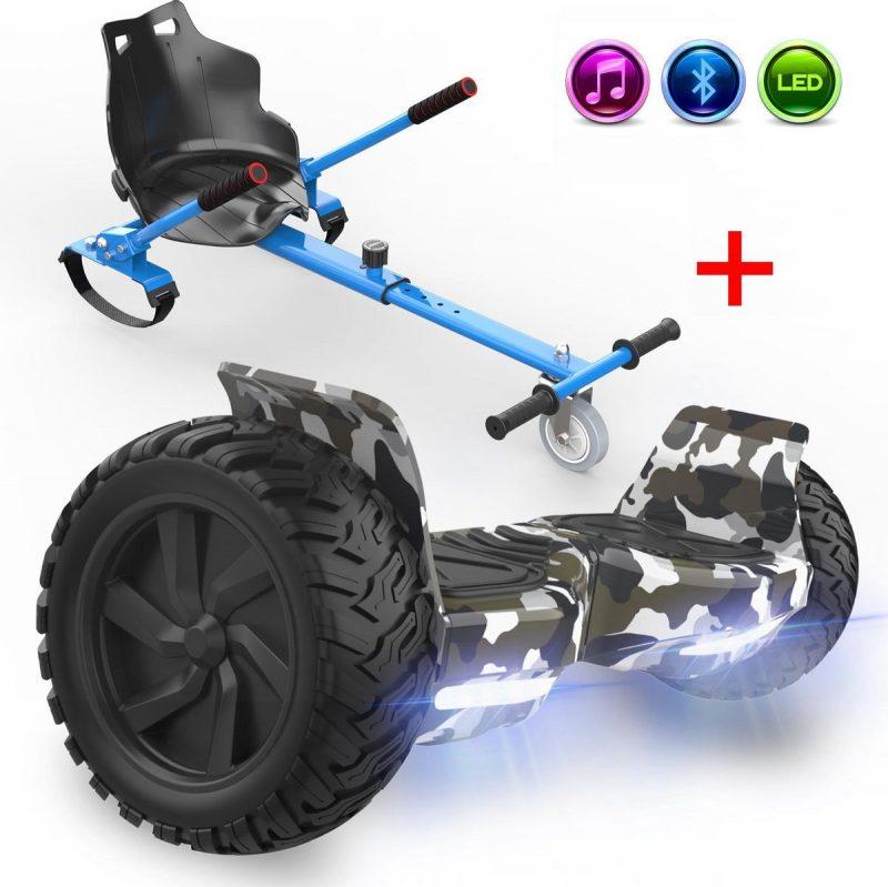 Evercross Challenger Hoverboard 8.5 Inch | 700W | Bluetooth Speaker | Camouflage + Hoverkart Blauw