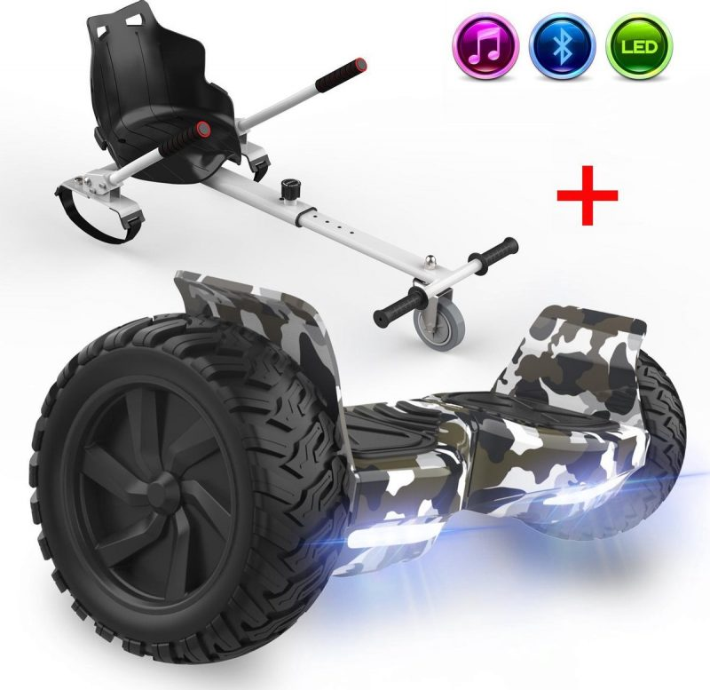 Evercross Challenger Hoverboard 8.5 Inch   700W   Bluetooth Speaker   Camouflage + Hoverkart Wit