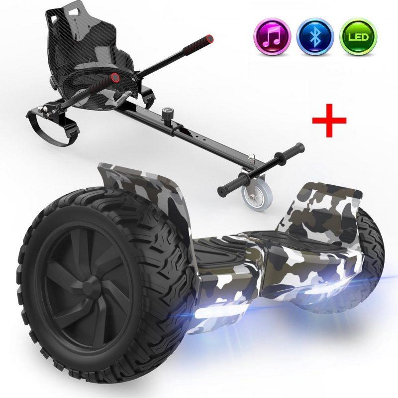Evercross Challenger Hoverboard 8.5 Inch | 700W | Bluetooth Speaker | Camouflage + Hoverkart Zwart