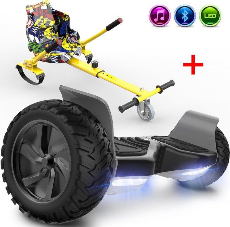 Evercross Challenger Hoverboard 8.5 Inch | 700W | Bluetooth Speaker | Zwart + Hoverkart Hiphop