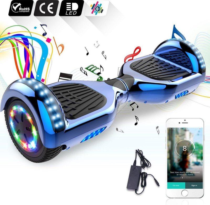 "Evercross Hoverboard 6.5""| Flits Wielen | Bluetooth en LED verlichting | Blauw Chroom"