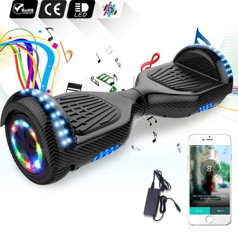 "Evercross Hoverboard 6.5""  Flits Wielen   Bluetooth en LED verlichting   Koolzwart"