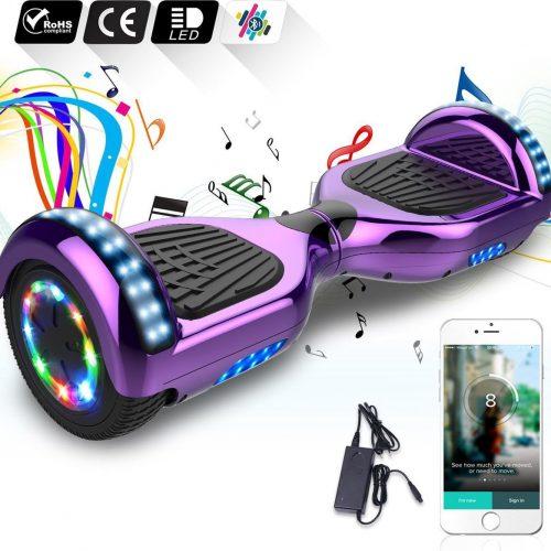 "Evercross Hoverboard 6.5""  Flits Wielen   Bluetooth en LED verlichting   Paars Chroom"