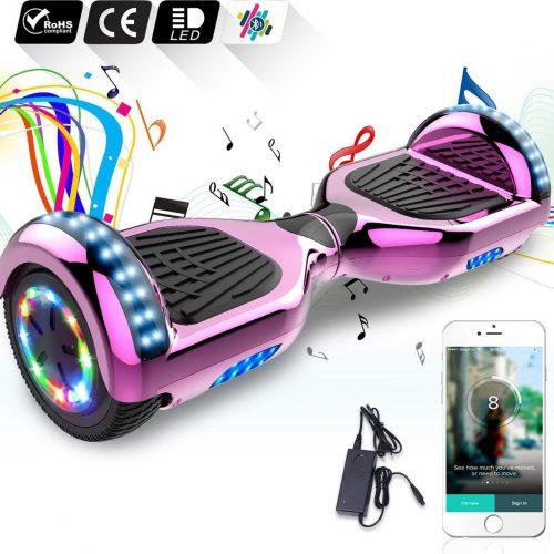 "Evercross Hoverboard 6.5""| Flits Wielen | Bluetooth en LED verlichting | Roze Chroom"