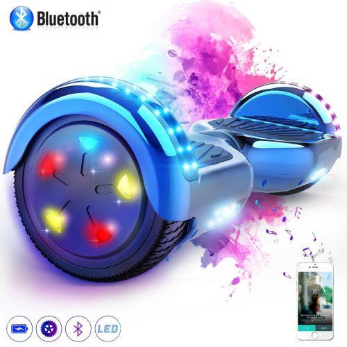 Evercross Hoverboard 6.5 Inch   Flits Wielen   Bluetooth Speaker   LED verlichting   Blauw Chroom