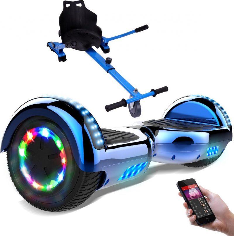 Evercross Hoverboard 6.5 Inch | Flits Wielen | Bluetooth Speaker | LED verlichting | Blauw Chroom + Hoverkart Blauw