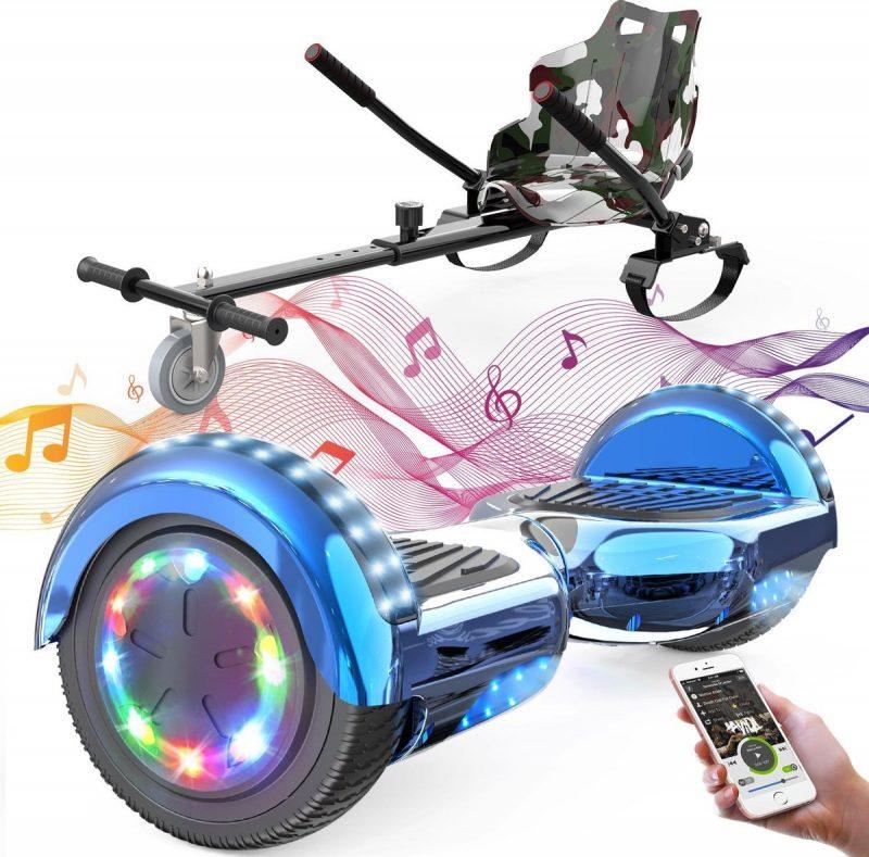 Evercross Hoverboard 6.5 Inch | Flits Wielen | Bluetooth Speaker | LED verlichting | Blauw Chroom + Hoverkart Camouflage