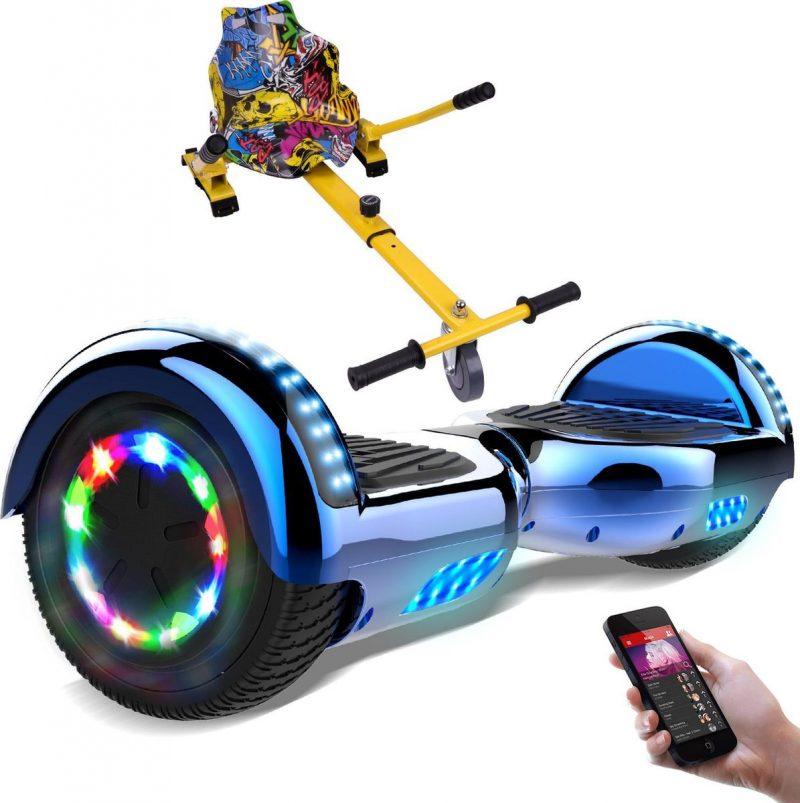 Evercross Hoverboard 6.5 Inch   Flits Wielen   Bluetooth Speaker   LED verlichting   Blauw Chroom + Hoverkart Hiphop