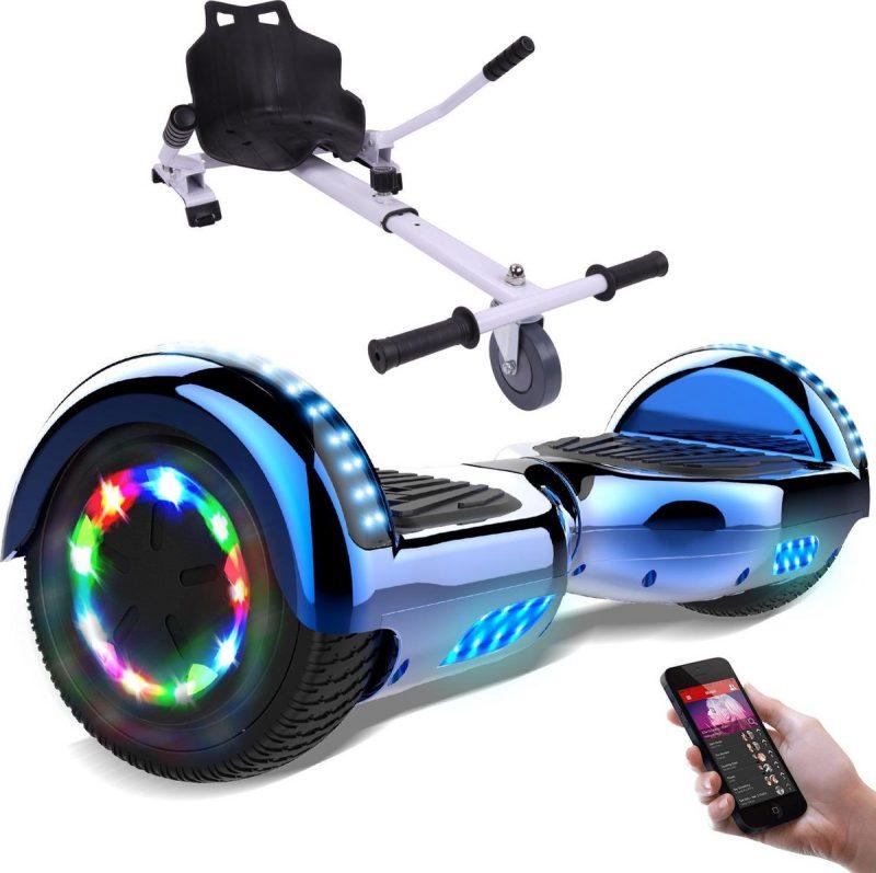 Evercross Hoverboard 6.5 Inch | Flits Wielen | Bluetooth Speaker | LED verlichting | Blauw Chroom + Hoverkart Wit