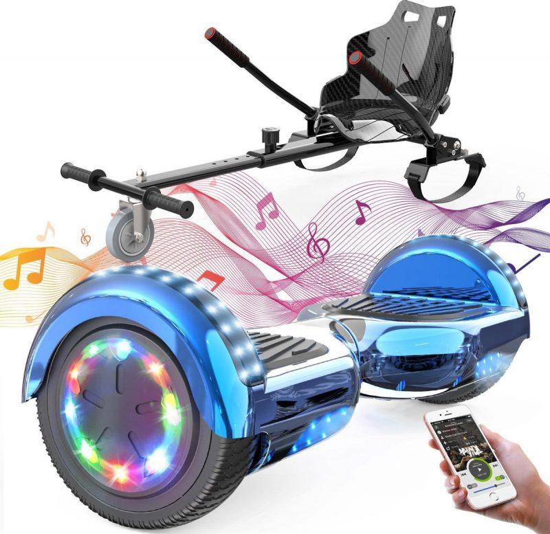 Evercross Hoverboard 6.5 Inch | Flits Wielen | Bluetooth Speaker | LED verlichting | Blauw Chroom + Hoverkart Zwart