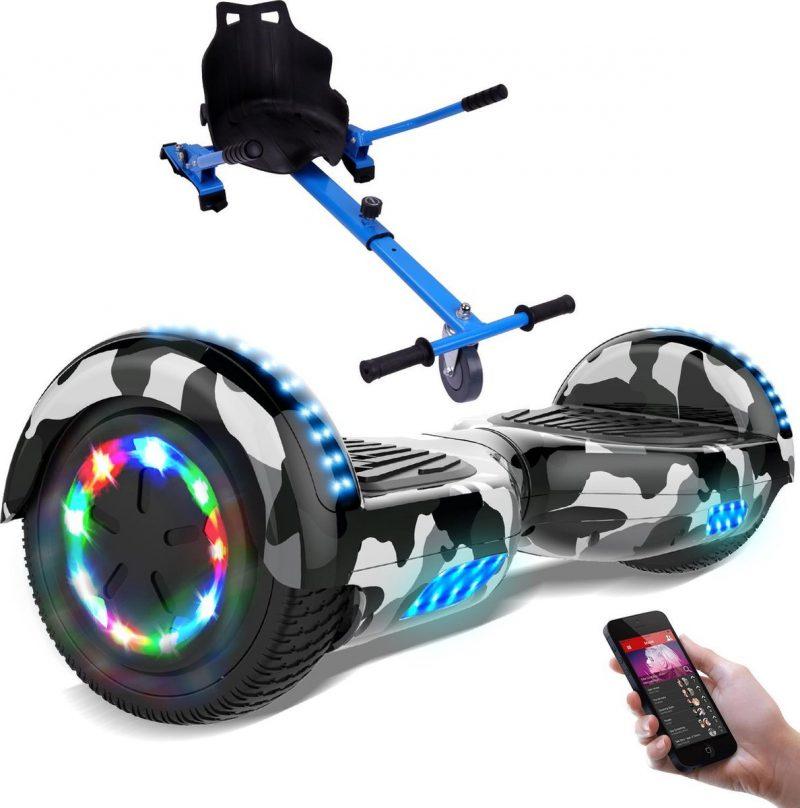 Evercross Hoverboard 6.5 Inch   Flits Wielen   Bluetooth Speaker   LED verlichting   Camouflage + Hoverkart Blauw