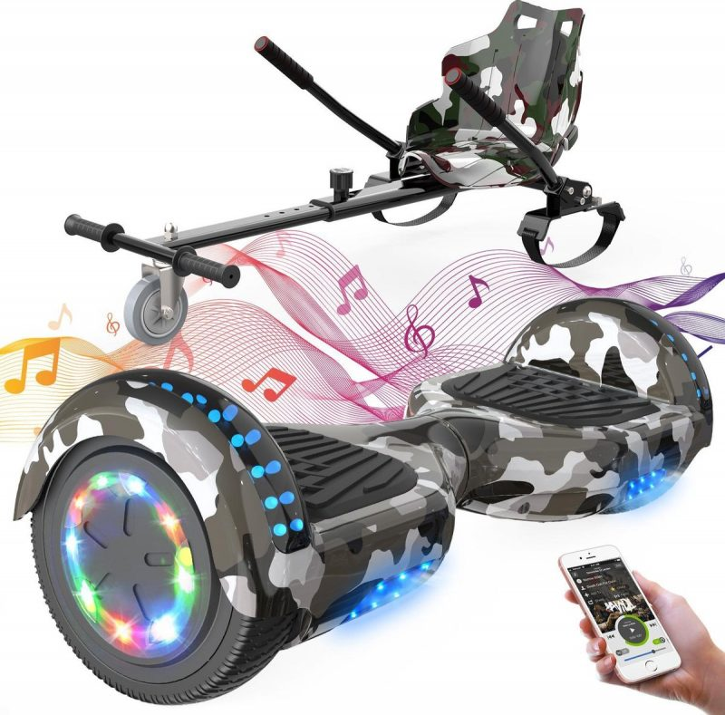 Evercross Hoverboard 6.5 Inch | Flits Wielen | Bluetooth Speaker | LED verlichting | Camouflage + Hoverkart Camouflage