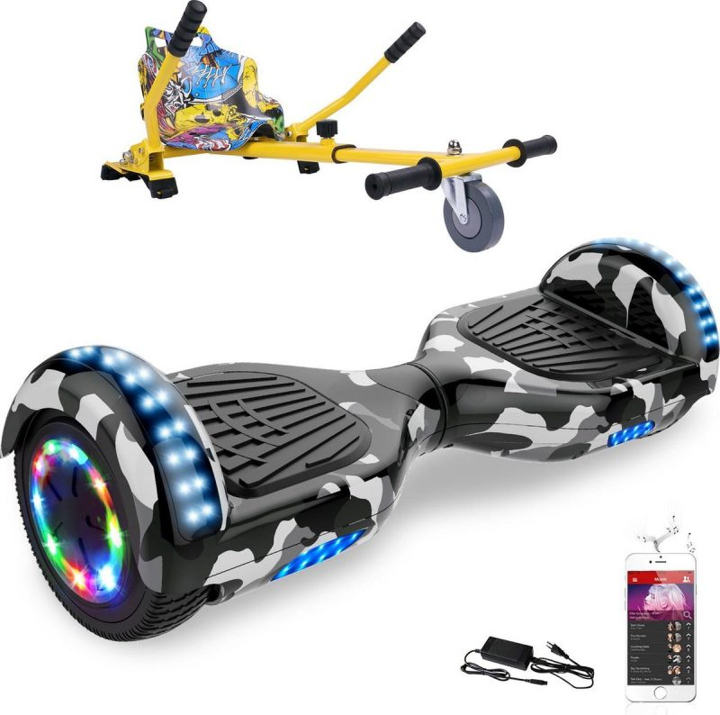 Evercross Hoverboard 6.5 Inch | Flits Wielen | Bluetooth Speaker | LED verlichting | Camouflage + Hoverkart Hiphop