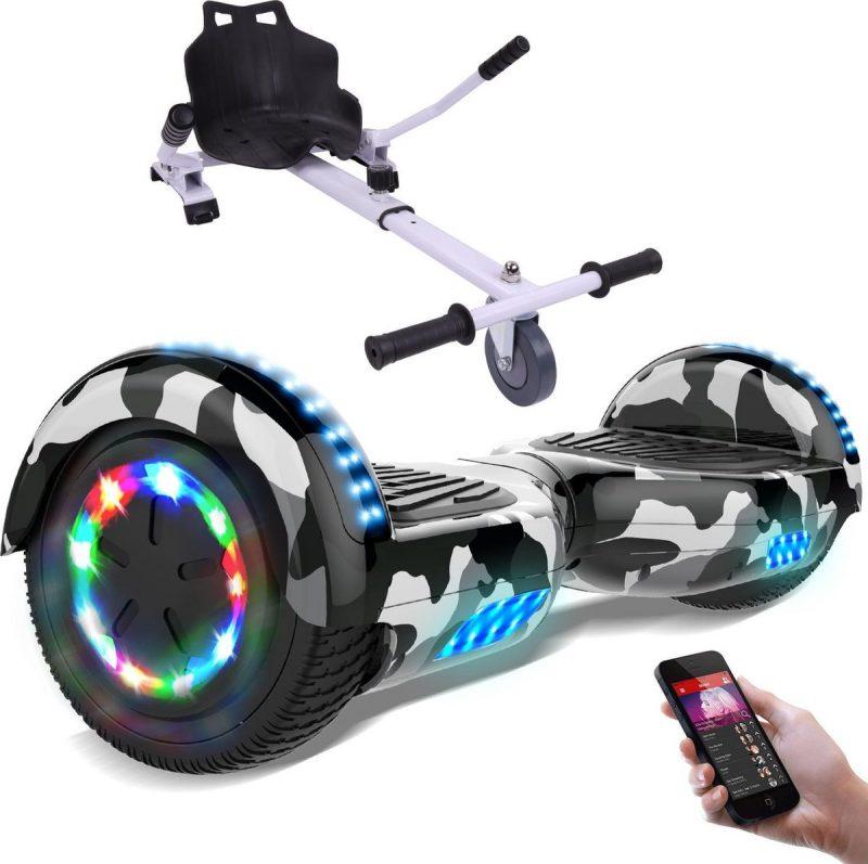 Evercross Hoverboard 6.5 Inch | Flits Wielen | Bluetooth Speaker | LED verlichting | Camouflage + Hoverkart Wit
