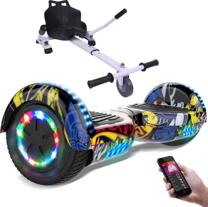 Evercross Hoverboard 6.5 Inch   Flits Wielen   Bluetooth Speaker   LED verlichting   Hiphop + Hoverkart Wit