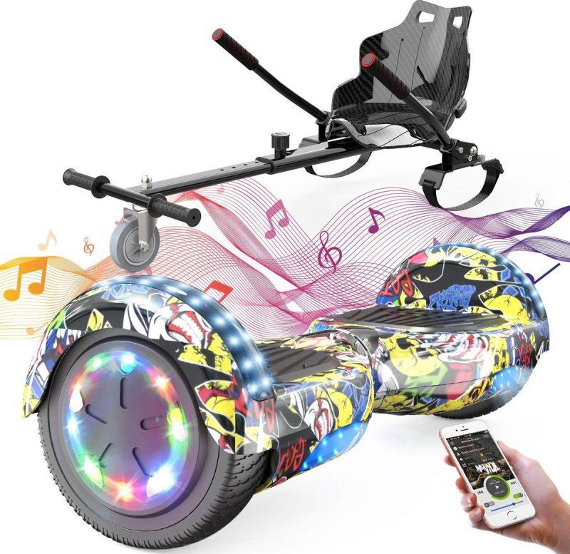 Evercross Hoverboard 6.5 Inch   Flits Wielen   Bluetooth Speaker   LED verlichting   Hiphop + Hoverkart Zwart
