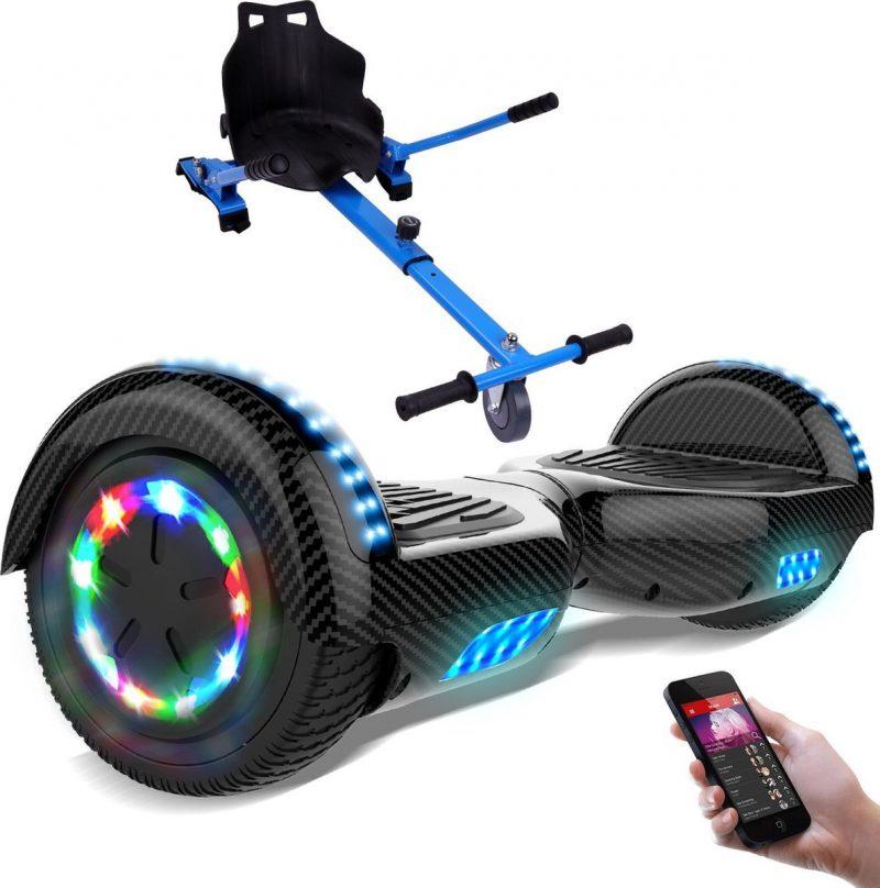 Evercross Hoverboard 6.5 Inch | Flits Wielen | Bluetooth Speaker | LED verlichting | Koolzwart + Hoverkart Blauw