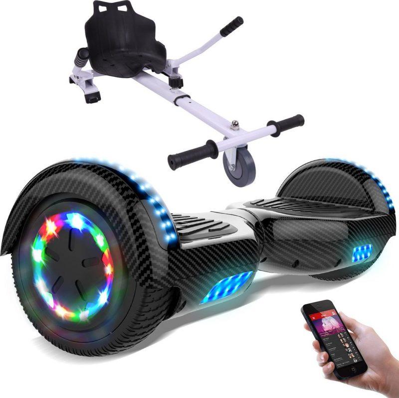 Evercross Hoverboard 6.5 Inch | Flits Wielen | Bluetooth Speaker | LED verlichting | Koolzwart + Hoverkart Wit