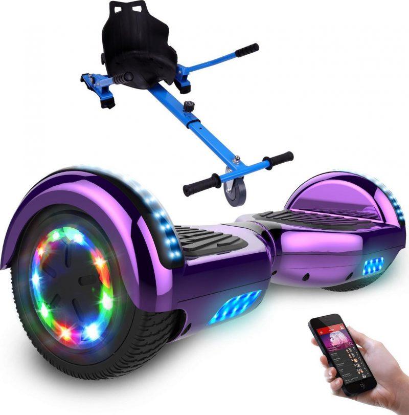 Evercross Hoverboard 6.5 Inch   Flits Wielen   Bluetooth Speaker   LED verlichting   Paars Chroom + Hoverkart Blauw