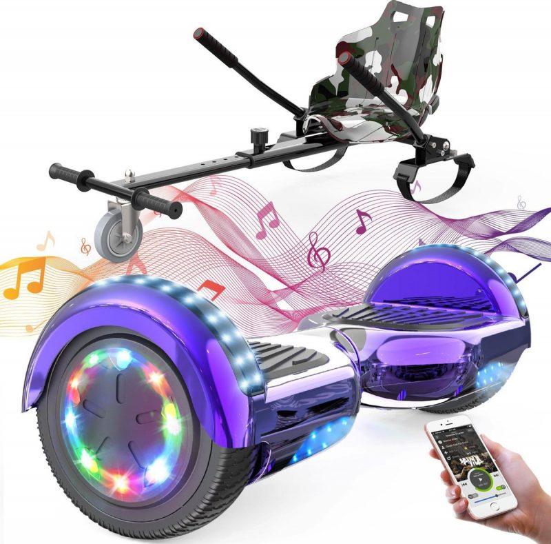Evercross Hoverboard 6.5 Inch | Flits Wielen | Bluetooth Speaker | LED verlichting | Paars Chroom + Hoverkart Camouflage