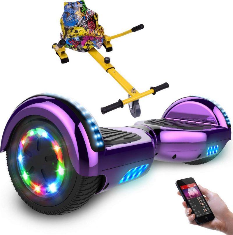 Evercross Hoverboard 6.5 Inch | Flits Wielen | Bluetooth Speaker | LED verlichting | Paars Chroom + Hoverkart Hiphop