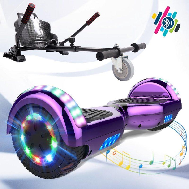 Evercross Hoverboard 6.5 Inch   Flits Wielen   Bluetooth Speaker   LED verlichting   Paars Chroom + Hoverkart Koolzwart