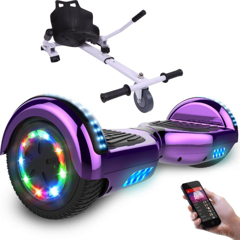 Evercross Hoverboard 6.5 Inch | Flits Wielen | Bluetooth Speaker | LED verlichting | Paars Chroom + Hoverkart Wit