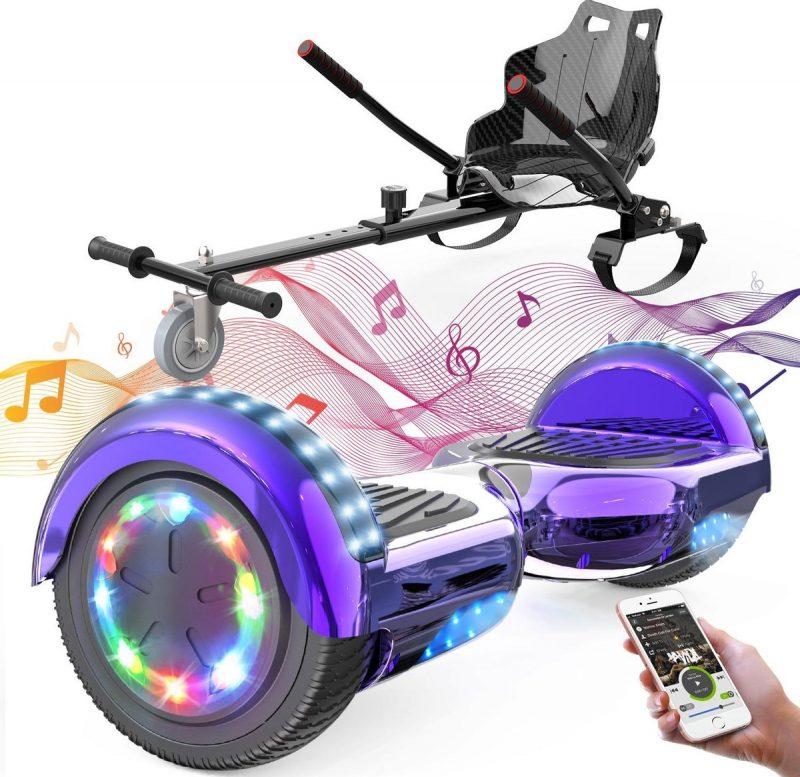 Evercross Hoverboard 6.5 Inch | Flits Wielen | Bluetooth Speaker | LED verlichting | Paars Chroom + Hoverkart Zwart