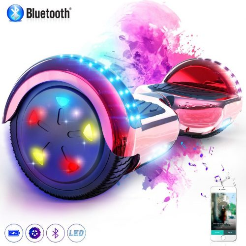Evercross Hoverboard 6.5 Inch | Flits Wielen | Bluetooth Speaker | LED verlichting | Rood Chroom
