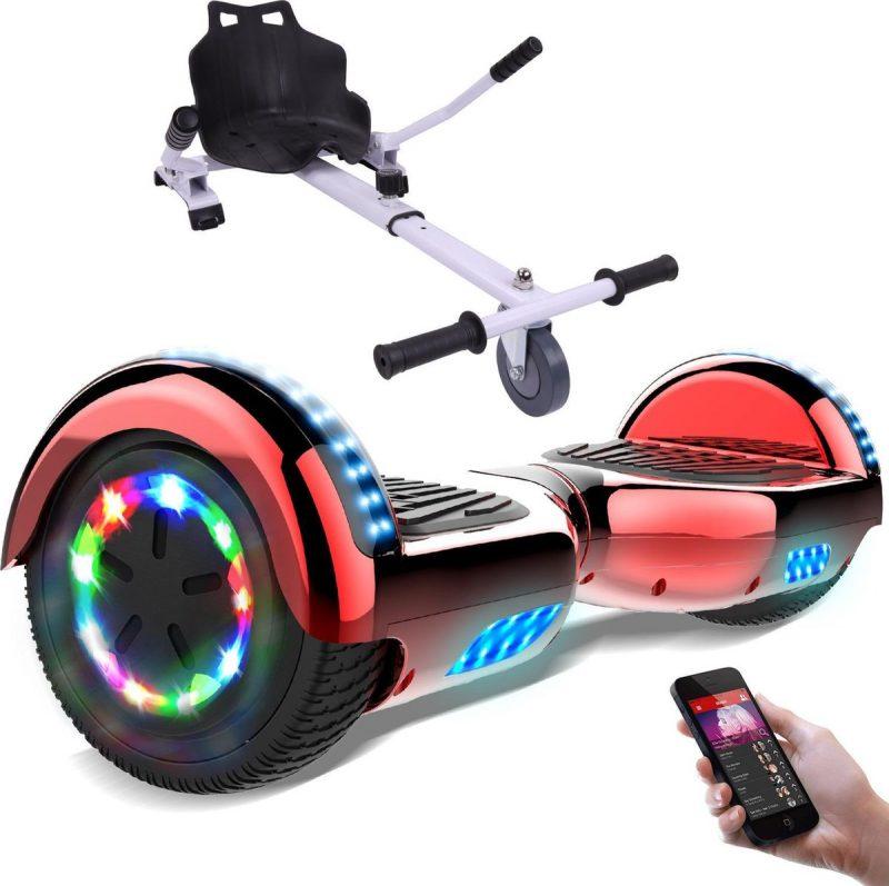 Evercross Hoverboard 6.5 Inch | Flits Wielen | Bluetooth Speaker | LED verlichting | Rood Chroom + Hoverkart Wit
