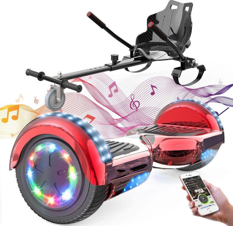 Evercross Hoverboard 6.5 Inch | Flits Wielen | Bluetooth Speaker | LED verlichting | Rood Chroom + Hoverkart Zwart