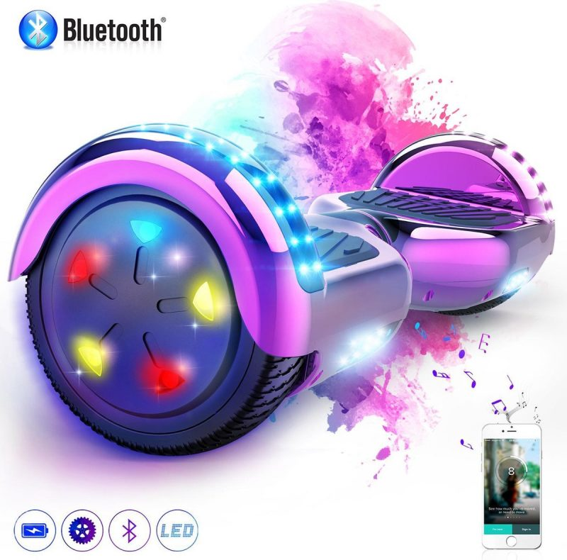 Evercross Hoverboard 6.5 Inch | Flits Wielen | Bluetooth Speaker | LED verlichting | Roze Chroom