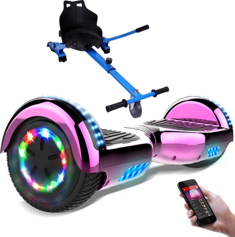 Evercross Hoverboard 6.5 Inch | Flits Wielen | Bluetooth Speaker | LED verlichting | Roze Chroom + Hoverkart Blauw