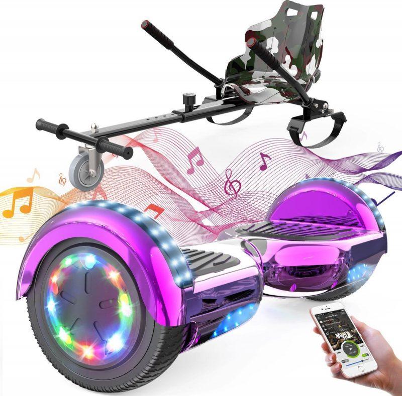 Evercross Hoverboard 6.5 Inch | Flits Wielen | Bluetooth Speaker | LED verlichting | Roze Chroom + Hoverkart Camouflage