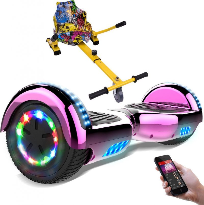 Evercross Hoverboard 6.5 Inch   Flits Wielen   Bluetooth Speaker   LED verlichting   Roze Chroom + Hoverkart Hiphop