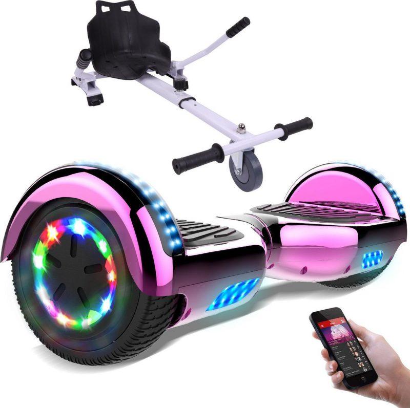 Evercross Hoverboard 6.5 Inch | Flits Wielen | Bluetooth Speaker | LED verlichting | Roze Chroom + Hoverkart Wit