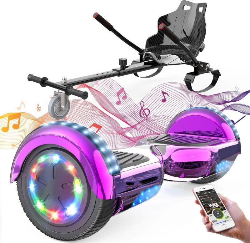 Evercross Hoverboard 6.5 Inch | Flits Wielen | Bluetooth Speaker | LED verlichting | Roze Chroom + Hoverkart Zwart
