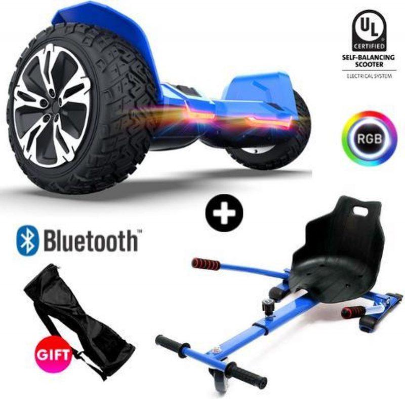 Gyroor Warrior G2 | Oxboard | Off Road Hoverboard met Hoverkart | Bluetooth Speaker | LED verlichting | Blauw + Hoverkart Blauw