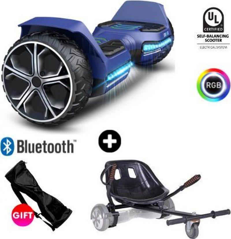 Gyroor Warrior G5 + Denver Hoverkart   Oxboard   Off Road Hoverboard met Hoverkart   Bluetooth Speaker   LED verlichting   Blauw