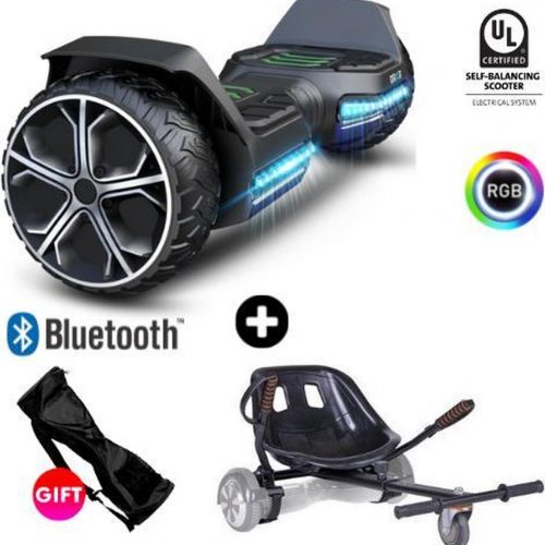 Gyroor Warrior G5 + Denver Hoverkart   Oxboard   Off Road Hoverboard met Hoverkart   Bluetooth Speaker   LED verlichting   Zwart