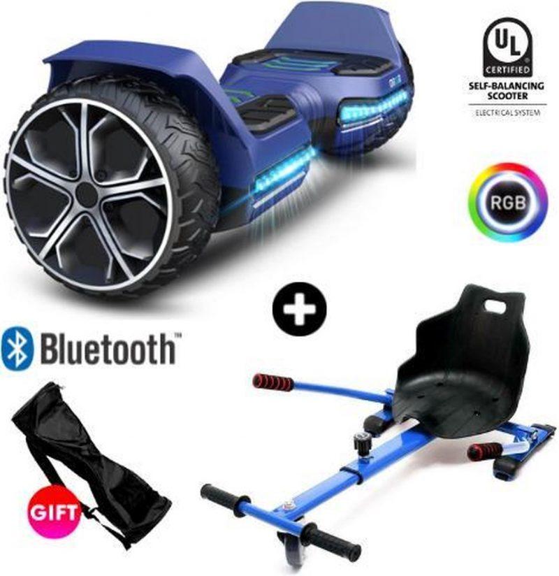 Gyroor Warrior G5 | Oxboard | Off Road Hoverboard met Hoverkart | Bluetooth Speaker | LED verlichting | Blauw + Hoverkart Blauw